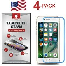 4-PACK For iPhone 8/7/6S/6 Full Edge Cover 3D Tempered Glass Screen Protector