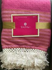 NWT Lilly Pulitzer for Target Pink Beach Throw Blanket Fringe Striped