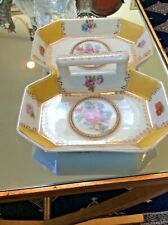 Vintage Stamped Porcelain 2 Sided Floral Candy Dish With Handle 9� X 6.5�