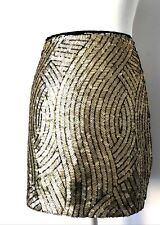 TOPSHOP Size 10 Mini Skirt Fitted Gold Sequin Metallic Clubbing Party