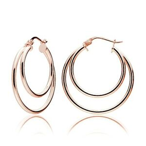 Rose Gold Tone over 925 Silver Double Circle Round Polished Hoop Earrings, 30mm