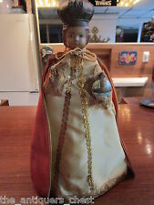 "Mid Century Infant of Prague Jesus Christ chalkware statue, 12""l dressed[a*12]"