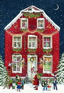 Mini House Advent Calendar Christmas Victorian Style Glittered envelope d