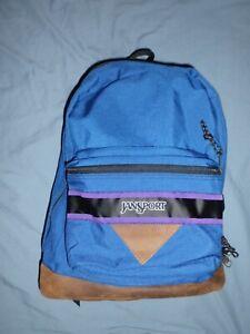 Striped JANSPORT Backpack day pack blue 2-pckt leather school hiking