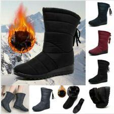 Damen Winter Wasserdichte Schneeschuhe Warme Stiefel Stiefeletten Flache Stiefel