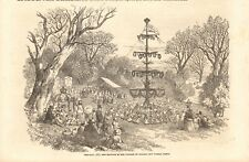 1852  ANTIQUE PRINT - MAY DAY 1852, MAY POLE IN VILLAGE OF BURLEY, NEW FOREST