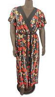 New 70.00 Value! NY COLLECTION black pattern contrast maxi dress surplice V-neck