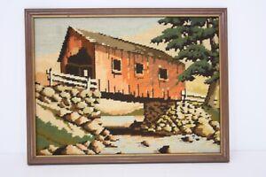 Covered Bridge River Scene Landscape Hand Stitched Needlepoint Textile Art 13x17