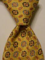 MASSIMO BIZZOCCHI by KITON Silk Necktie ITALY Luxury Geometric Yellow/Blue EUC
