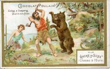 CHROMO CHOCOLAT POULAIN /  A LA HACHE DE SILEX CHASSE A L'OURS