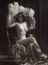 1937 Original ALFRED CHENEY JOHNSTON Female Nude Feathers Art Deco Photo Litho