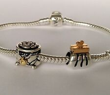 Authentic Pandora Clutch Purse and Pandoras Box Charm Sterling Silver 14k Gold