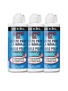 3 PIECES- ANDIS CLIPPER OIL 4 OZ- HAIR TRIMMER SHAVER BLADE OIL LUBRICANT