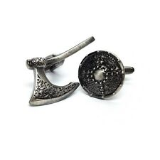 High Quality Antique Finish Viking Battle Axe & Shield Cufflinks