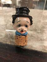 Vintage Antique Mid Century Bottle Stoper Decanter Top Hobo Looks Like Chaplin