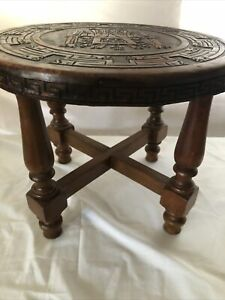 Round Indian Foot Stool With Top Wrapped In Embossed Leather