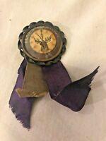 Beautiful Vintage Elk's Celebration Clock Face Pin pinback button