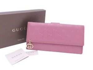 Auth Gucci GG Imprime Bifold Long Wallet Pink Purpe PVC/Leather - e43365