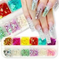 12 Grids/Box DIY Nail Art Glitter Laser Sequins Holographic Flakes Tip Decor US