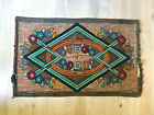 antique 1920s 1930s Art Deco rug 3x5 handmade hooked carpet floral brown green