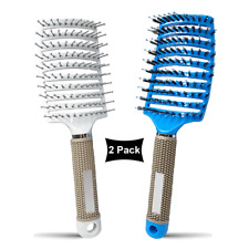 Curved Vented Boar Bristle Styling Hair Brush, 2 PACK, White & Blue Brush Set