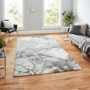 THINK RUGS CRAFT RUG 23270 GREY SILVER 120X170  ABSTRACT MARBLE EFFECT