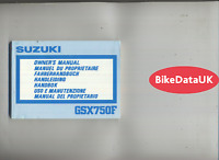 Suzuki GSX750F GR78 (1989) Genuine Owners Riders Manual Book GSXF GSX 750 F DB21