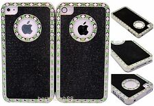 FOR IPHONE 4 4S  whole sale 2X HARD CASE black silver glitter w/ green stone