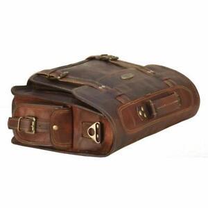 Men's Vintage Briefcase Satchel Leather Laptop Messenger Shoulder Office Bag