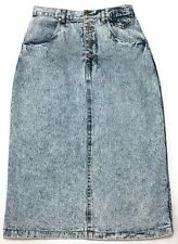 Vintage Denim Mom Skirt 12 Pencil Acid Stone Washed Button Fly 90's High Waist