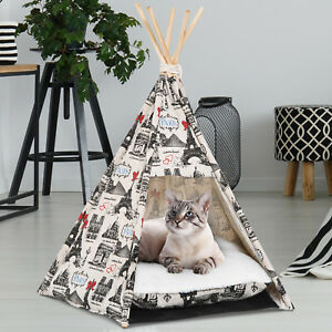 PawHut Portable Pet Teepee Tent Foldable Cat Bed Dog House Washable Cushion