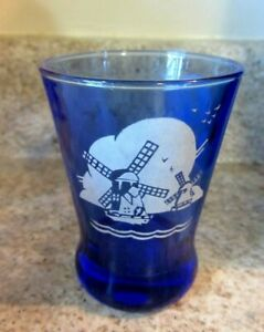 Moderntone Cobalt Blue Depression Liquor Tumbler 4oz Heavy Bottom, Windmills