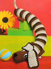 "CROCHET PATTERN How To Make a DACHSHUND SAUSAGE DOG Draught Excluder TOY 36"" DK"