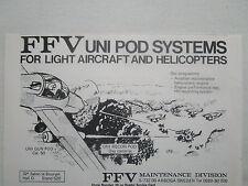 4/1977 PUB FFV UNI GUN POD UNI RECON POD LIGHT AIRCRAFT HELICOPTER ORIGINAL AD