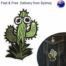 Cartoon Cactus iron on patch Prickly desert plant eyes waving embroidery patches