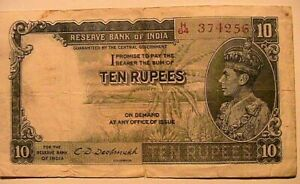 1943 (nd) British India 10 Rupees Very Fine Crispy Banknote Currency Paper Money