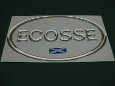 1 ECOSSE OVAL CHROME EFFECT DOME CAR STICKER with Scottish flag