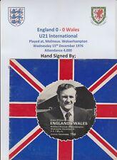 ENGLAND VS WALES U21  1976 PROGRAMME RARE ORIGINAL AUTOGRAPHS 24 X SIGNATURES
