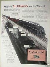 "1944 WWII NY Central System America's Railroad~Train ""Mohawks"" Warpath War AD"