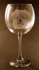 New Etched Tibetan Spaniel on Large Elegant Wine Glasses - Set of 2