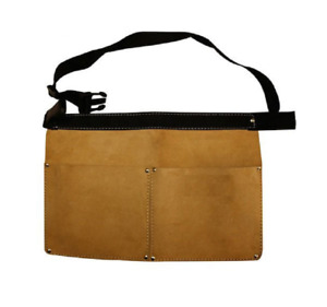 Suede Leather Double Pocket Nail Pouch Heavy Duty Leather Nail Pouch with Belt
