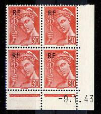 FRANCE - 1944 - N°658 30c MERCURE RF COIN DATÉ du 9.1.43 (1 point blanc) - TB