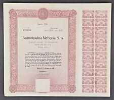 MEXICO C/12 PASTEURIZADORA MEXICANA SA diez acciones  de valor $1,000 pesos 1952