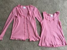 Motherhood Maternity Nursingwear Cardigan Tank Top SET Small Shirt PINK Nursing