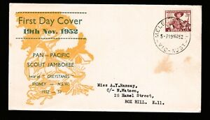 1952 PAN-PACIFIC SCOUT JAMBOREE PRE-DECIMAL STAMPS HASLEM FIRST DAY COVER #O3