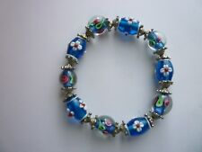 *Silver Tone Stretch Bracelet Glass Lampwork Beads with Silver Tone Spacers
