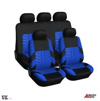 BLUE BLACK FABRIC FULL CAR SEAT COVERS SET FOR PEUGEOT 3008