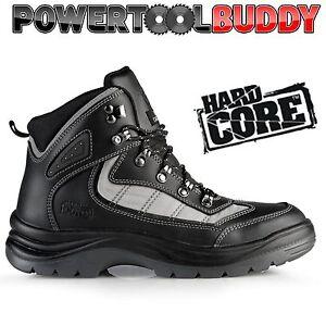 Hard Core by Scruffs Zircon Safety Hiker Boots Leather Black Steel Toe Work