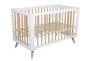 Childcare Zuri Baby Modern Solid Timber Wooden Cot Beechwood Leg Natural