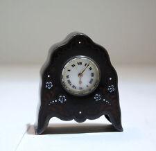 Argent Art Deco Swiss Made Sterling Silver Enamel Clock w/Key C. 1930s
